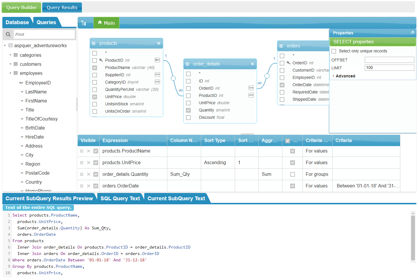 Spreadsheet Server Query Designer For Visual Sql Query