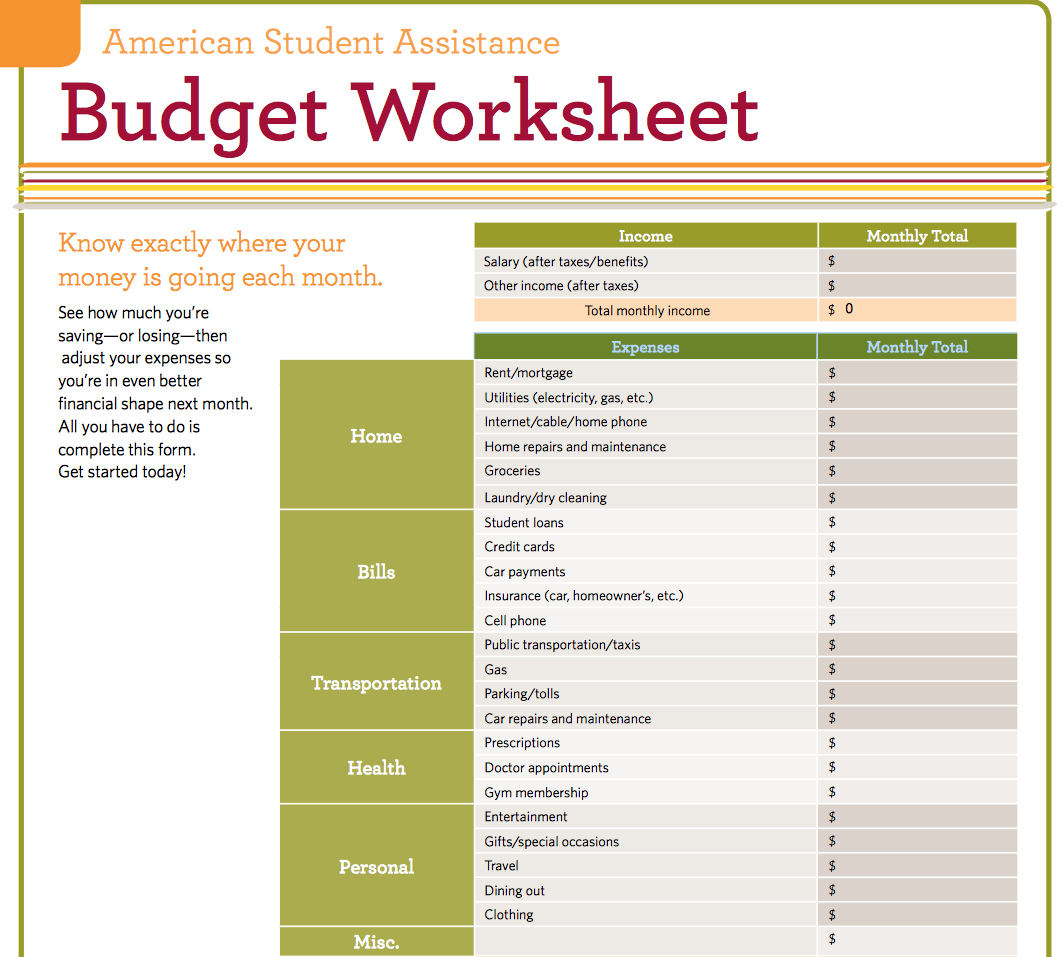 Student Budget Planner Spreadsheet Spreadsheet Downloa
