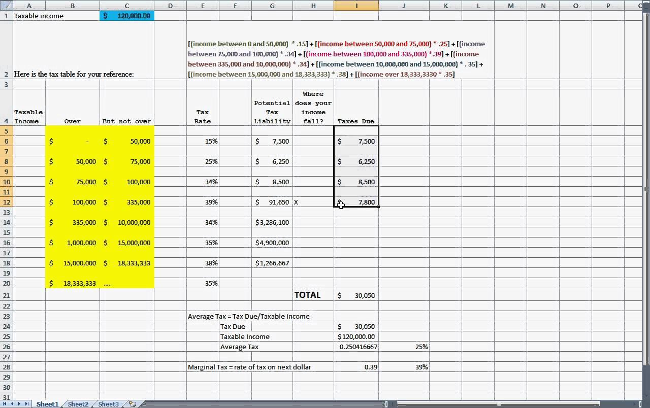 Tax Calculator Excel Spreadsheet Spreadshee Tax