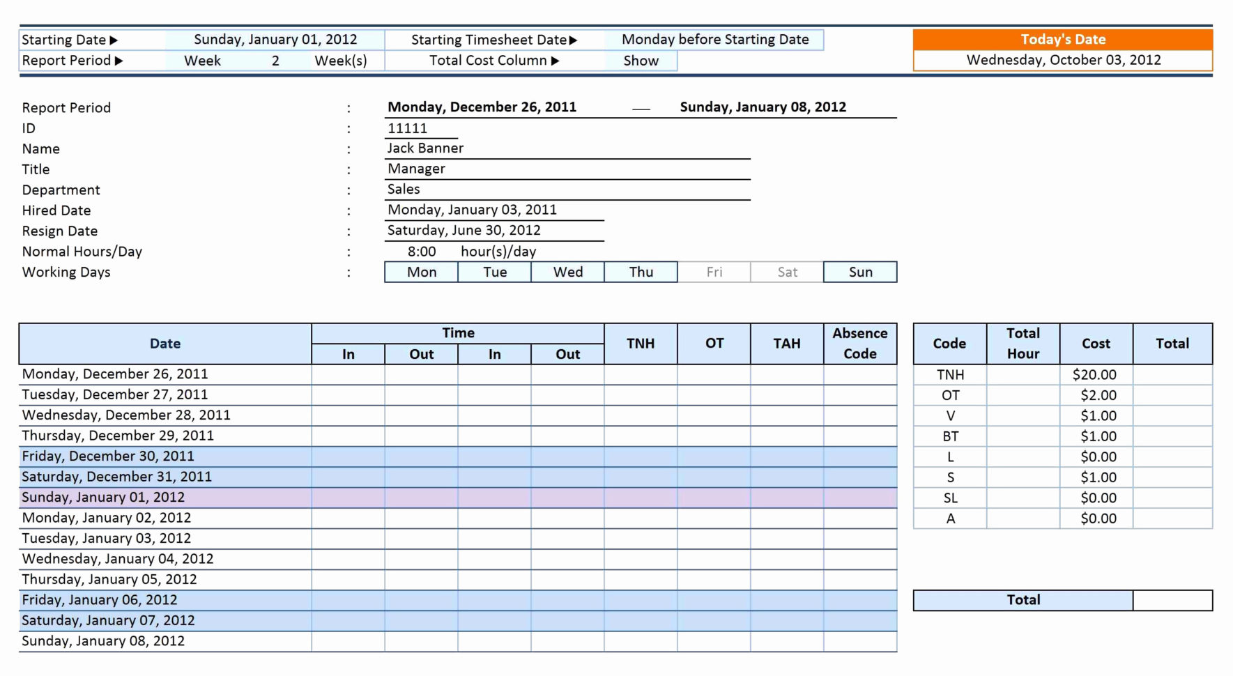 Time Keeping Spreadsheet Template Inside Time Tracking