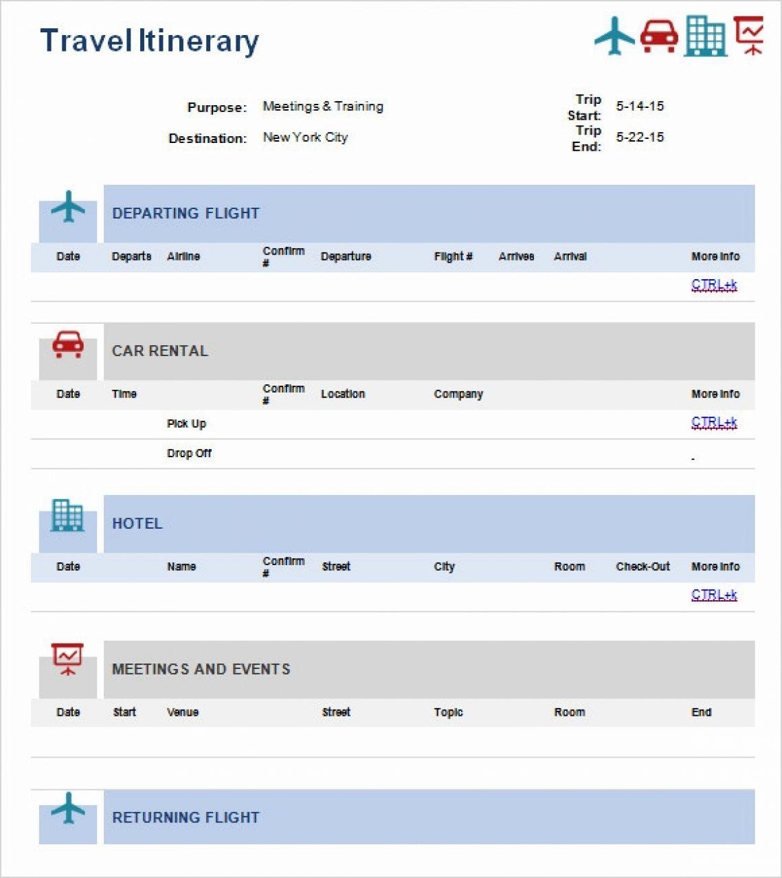 Travel Itinerary Spreadsheet Within Travel
