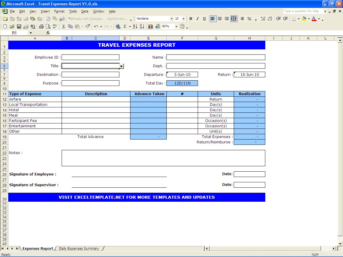 Vacation Expense Spreadsheet Template Spreadshee