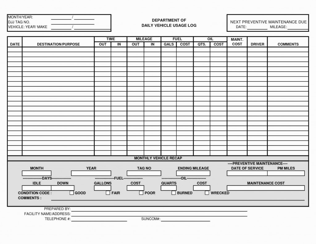 Vehicle Fuel Log Spreadsheet With Regard To 011 Vehicle