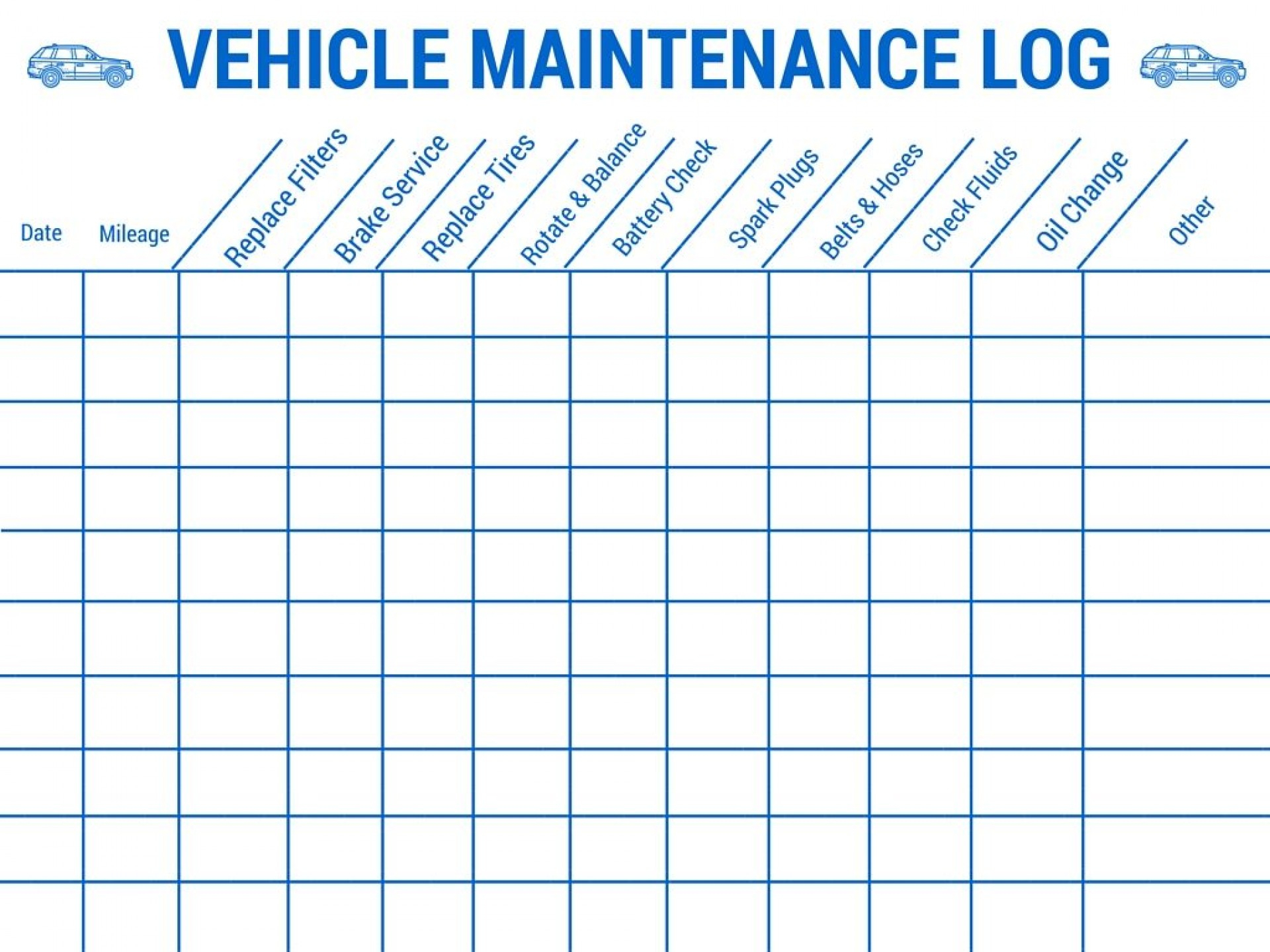 Vehicle Maintenance Tracking Spreadsheet Spreadsheet