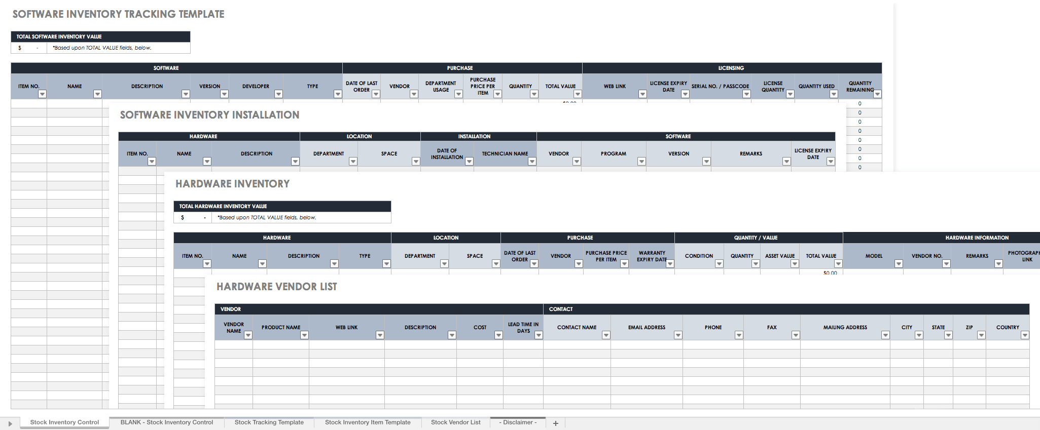 Tracking Spreadsheet Inventory Tracking Spreadsheet