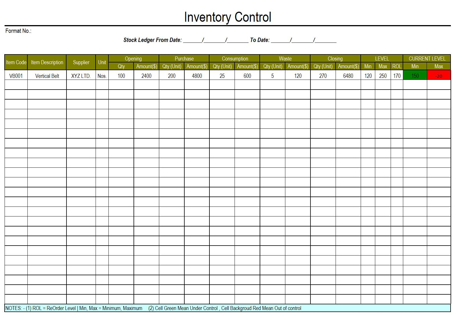 Waste Inventory Spreadsheet With Regard To Inventory