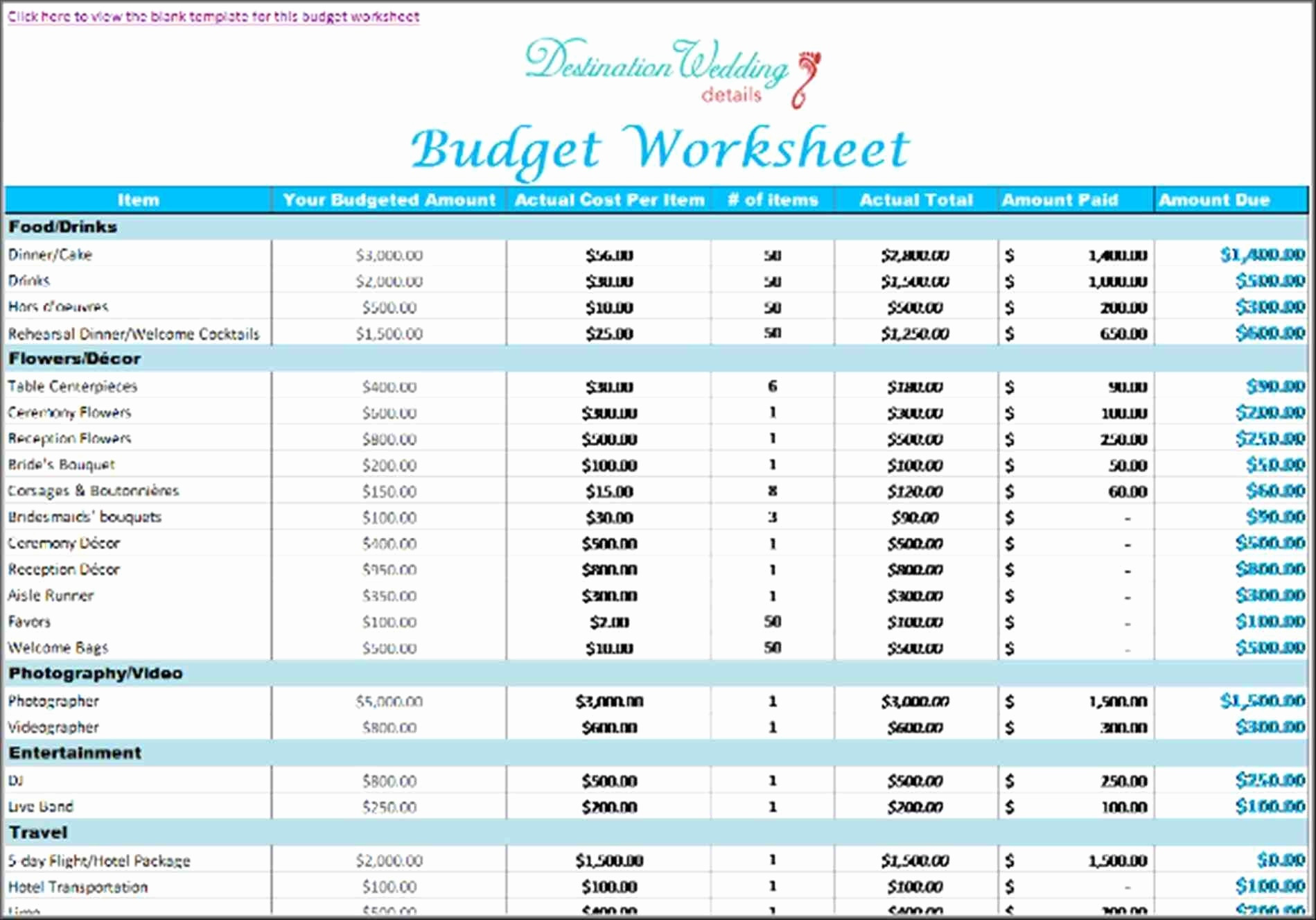Wedding Budget Spreadsheet For 20k With Regard To Wedding