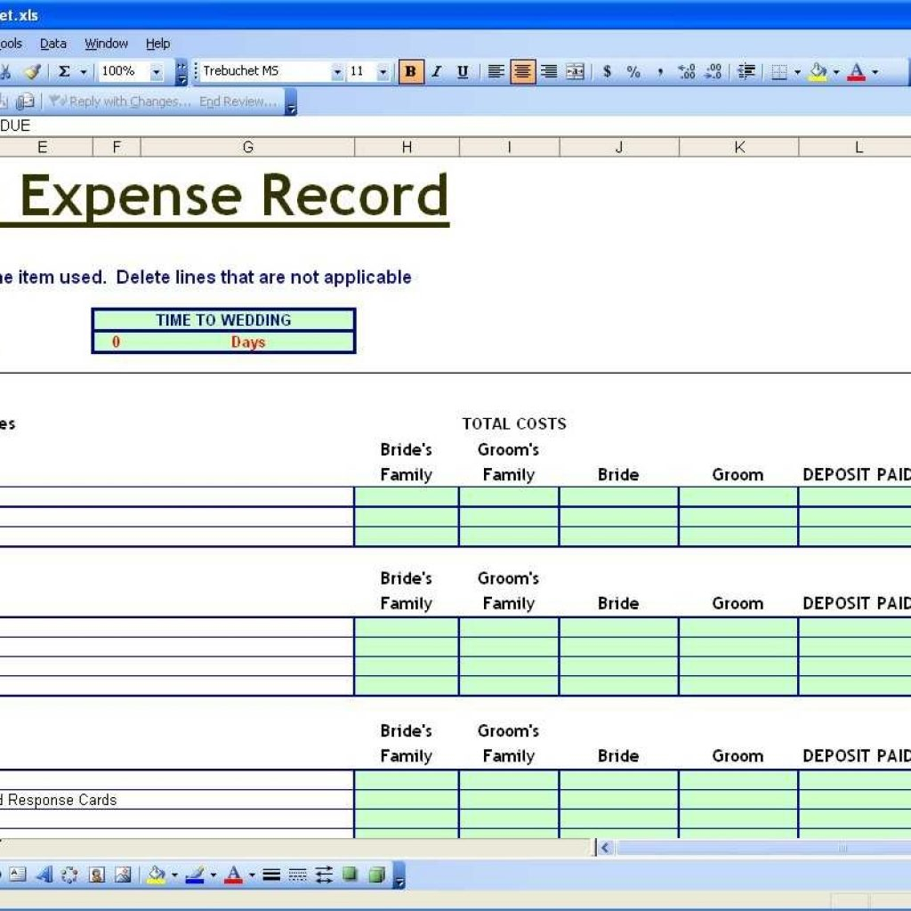 Wedding Excel Spreadsheet Within Budget Planning