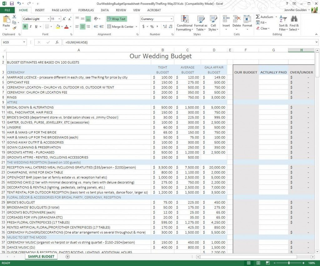 Wedding Expense Excel Spreadsheet Spreadshee
