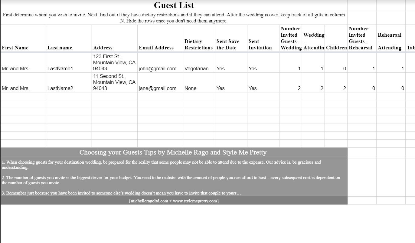 Wedding Guest Excel Spreadsheet Spreadshee Wedding