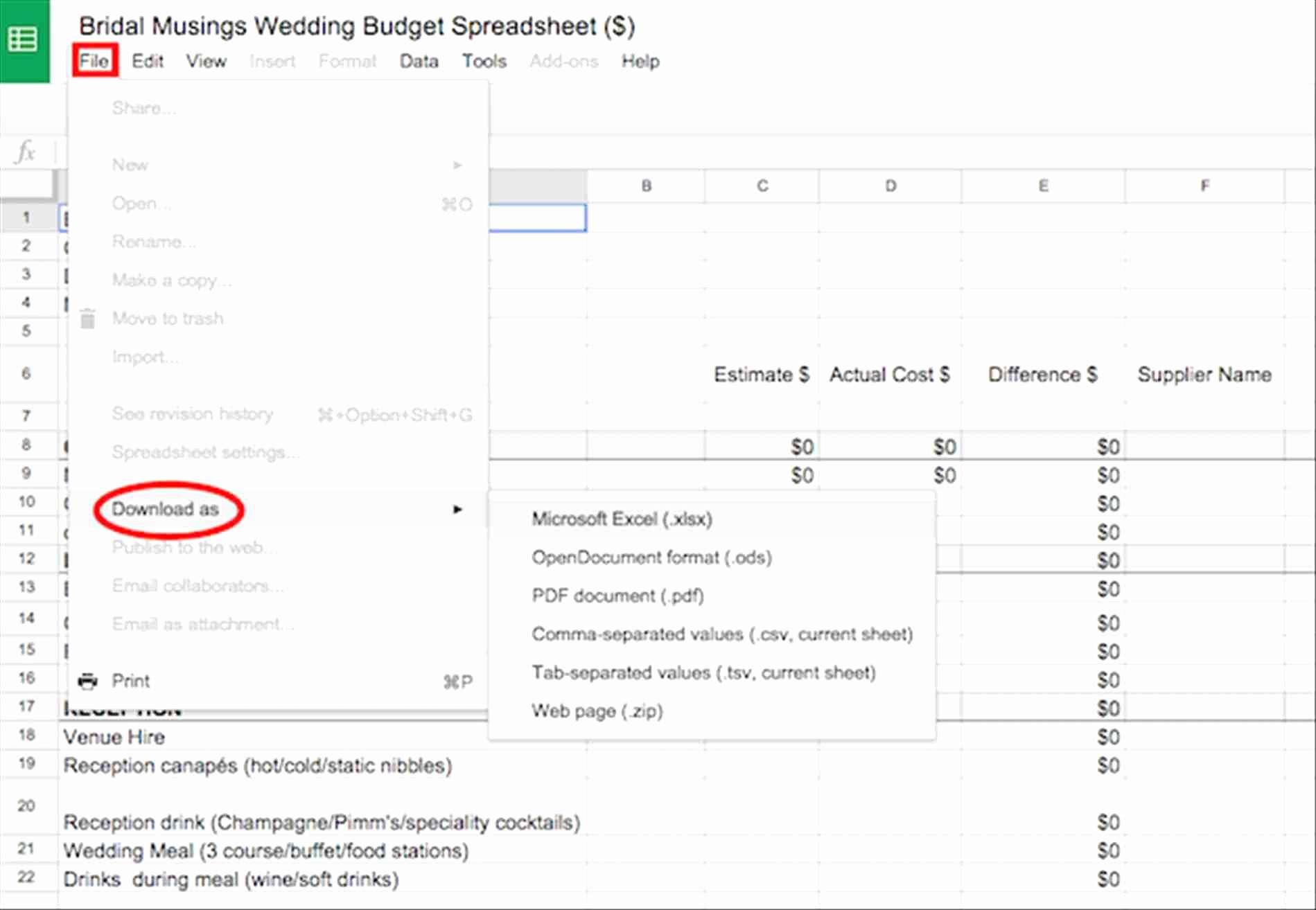 Wedding Planning Excel Spreadsheet Throughout Wedding