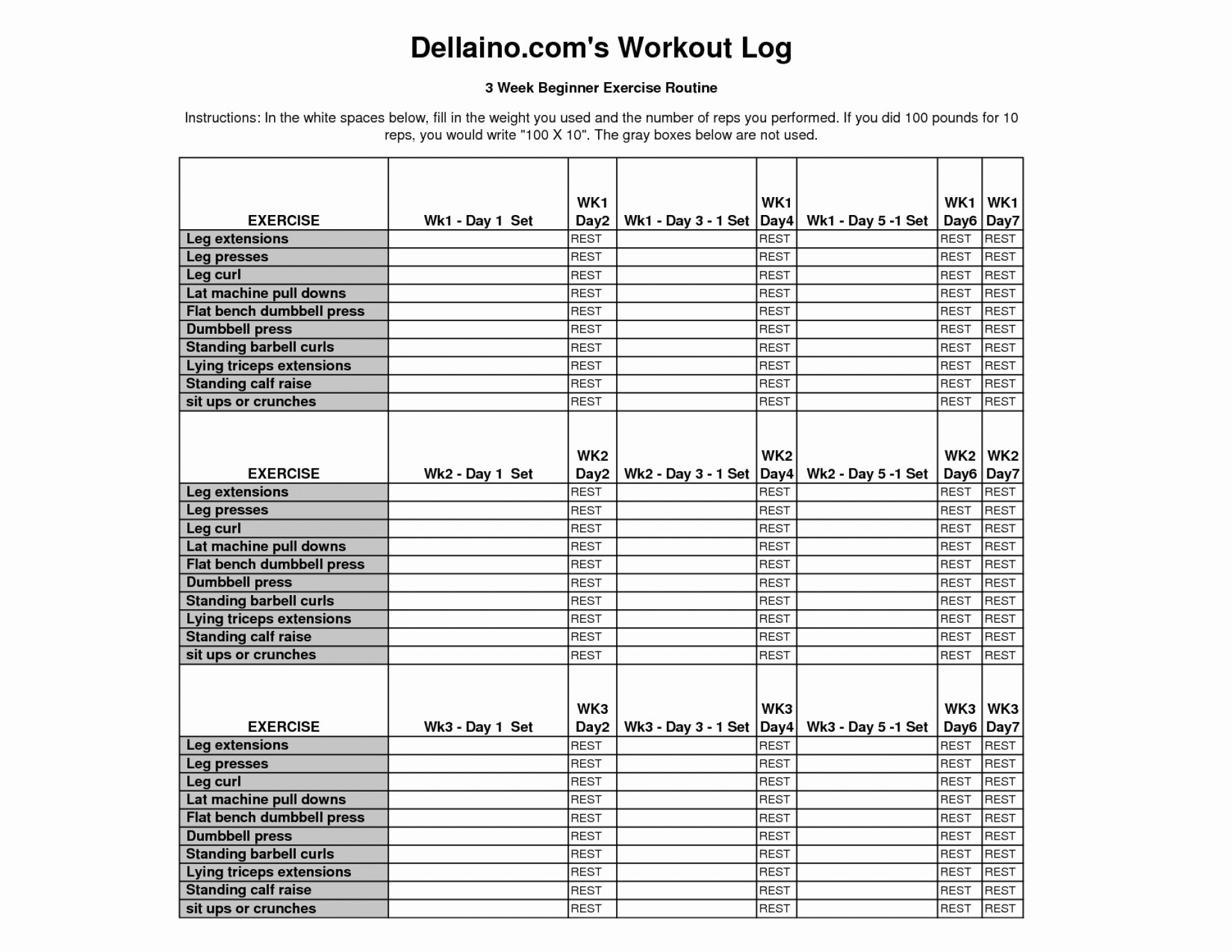 Weight Training Spreadsheet Template
