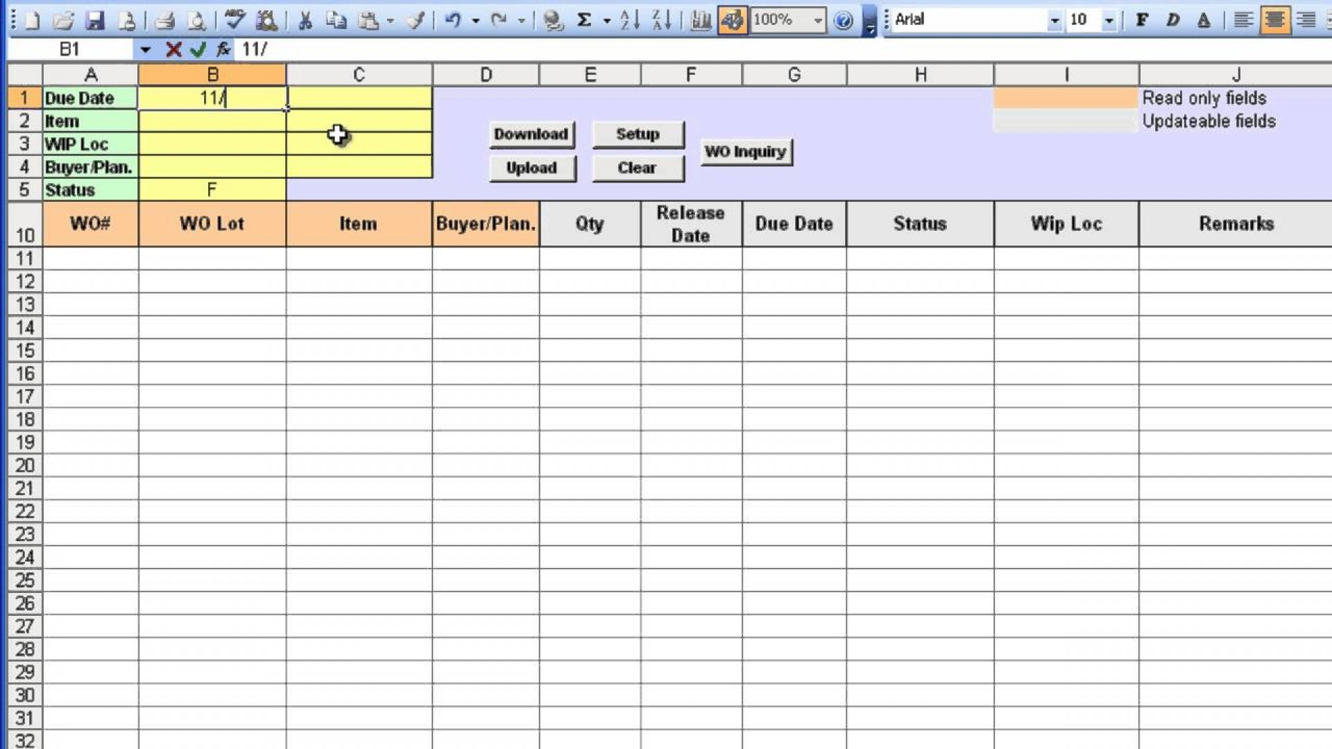 Work Order Tracking Spreadsheet Spreadsheet Downloa Work