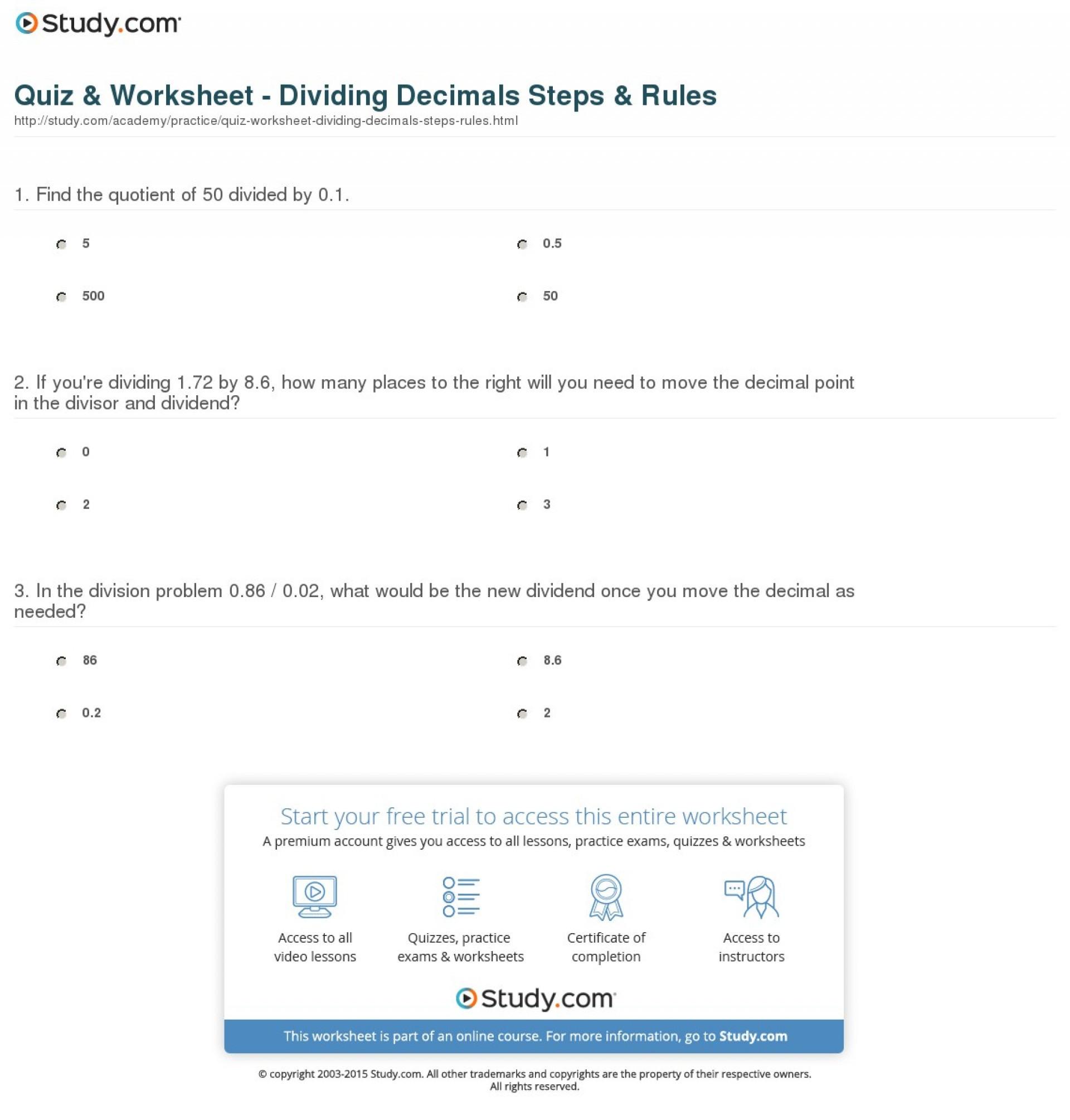 Decimals Worksheets Grade 6