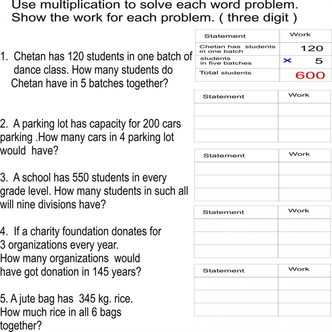 028 Free Printable Worksheets Multiplication Word Problems