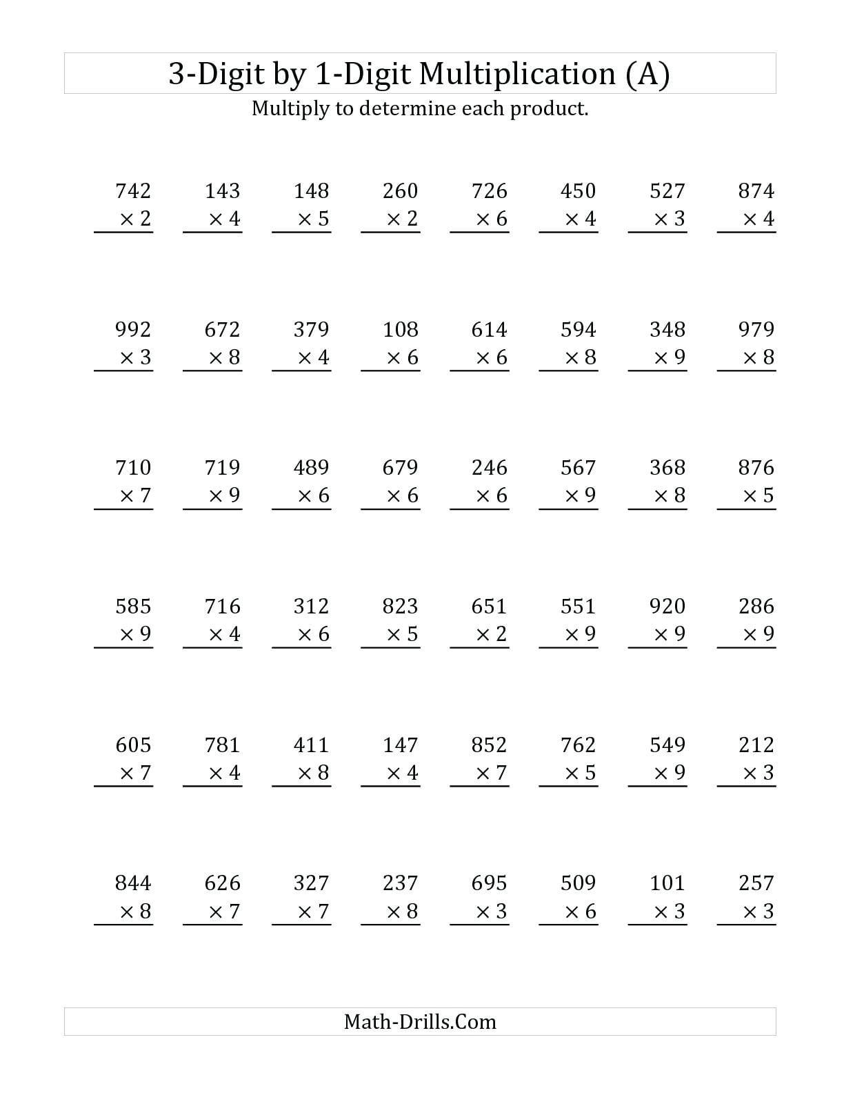 030 Worksheet Standard Algorithm Multiplication Worksheets