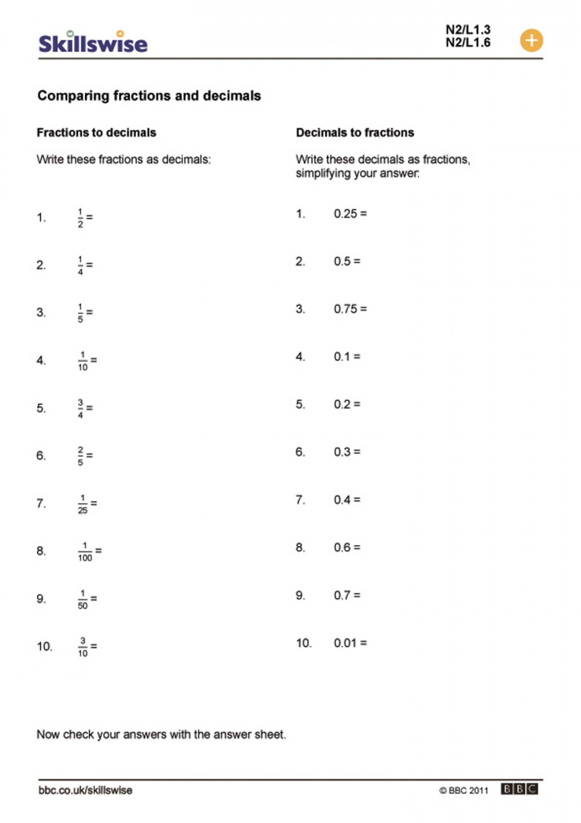 033 Ordering Fractions And Decimals Worksheets Worksheet