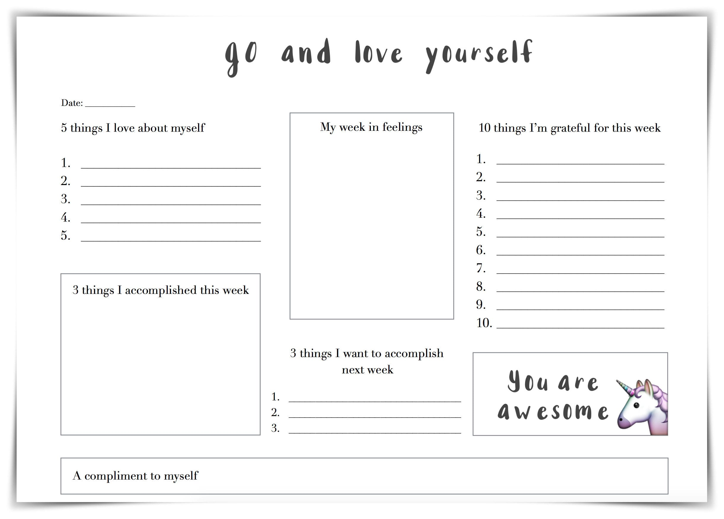 Self Love Worksheet
