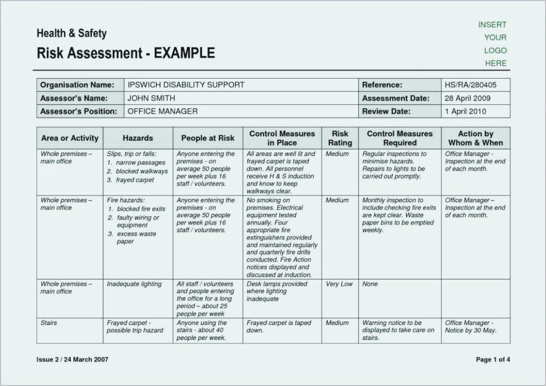 Deliberate Risk Assessment Worksheet For Range