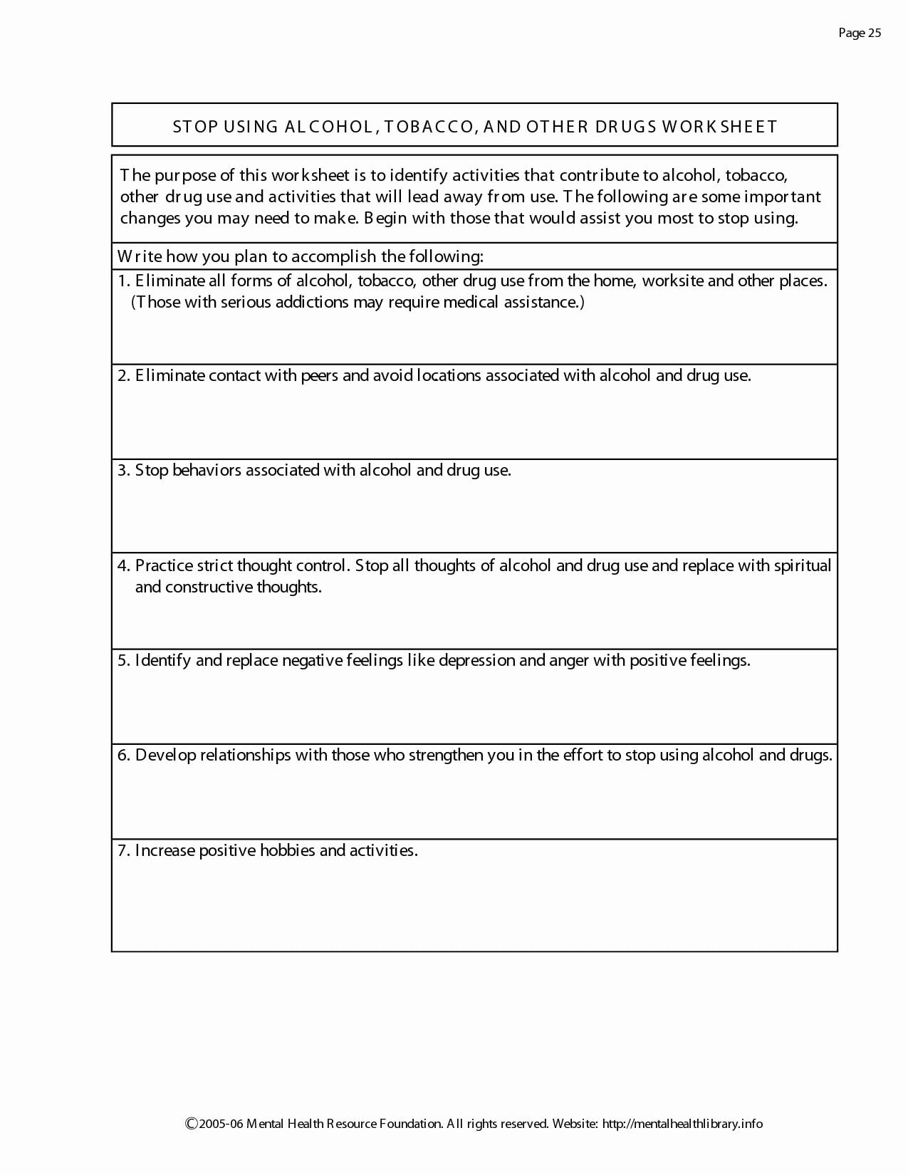 17 Substance Abuse Recovery Worksheets Cprojects Resume