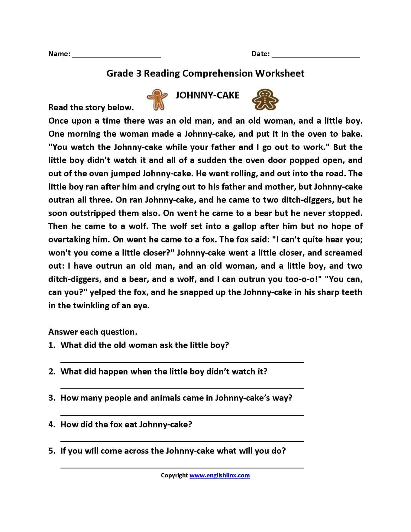 3rd Grade Reading Comprehension Worksheets Lobo Black