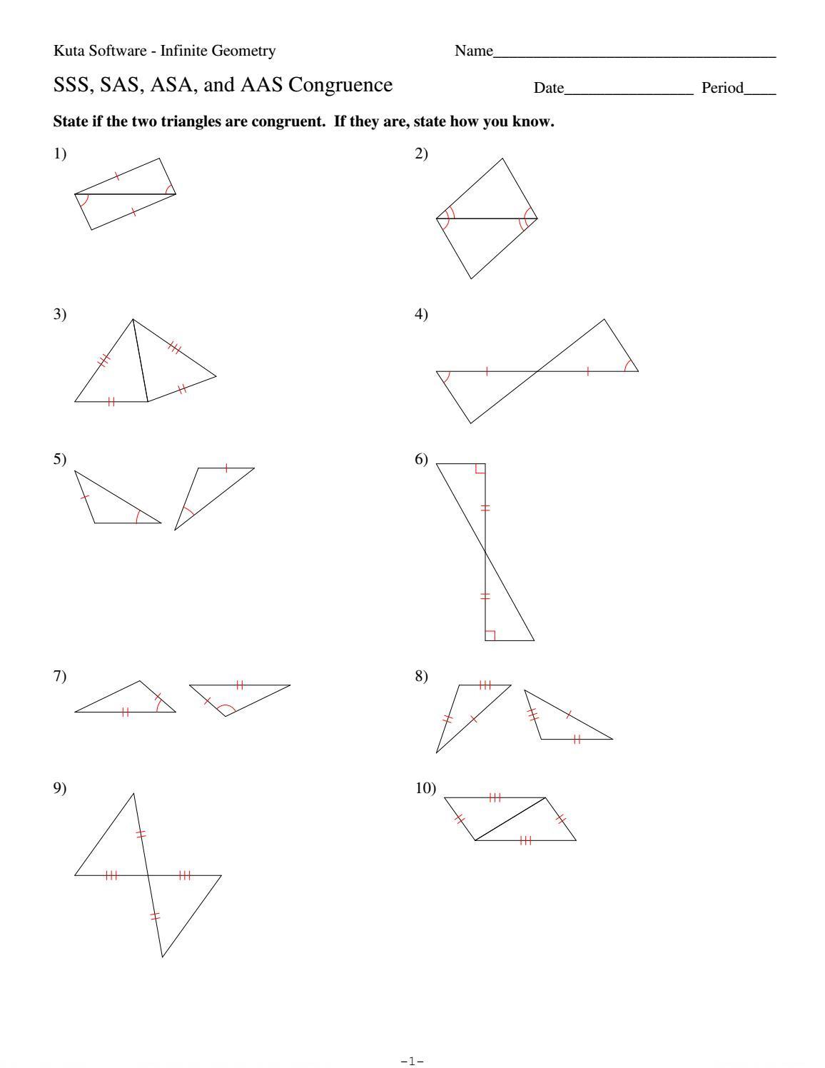 4 Sss Sas Asa And Aas Congruencehhs Geometry
