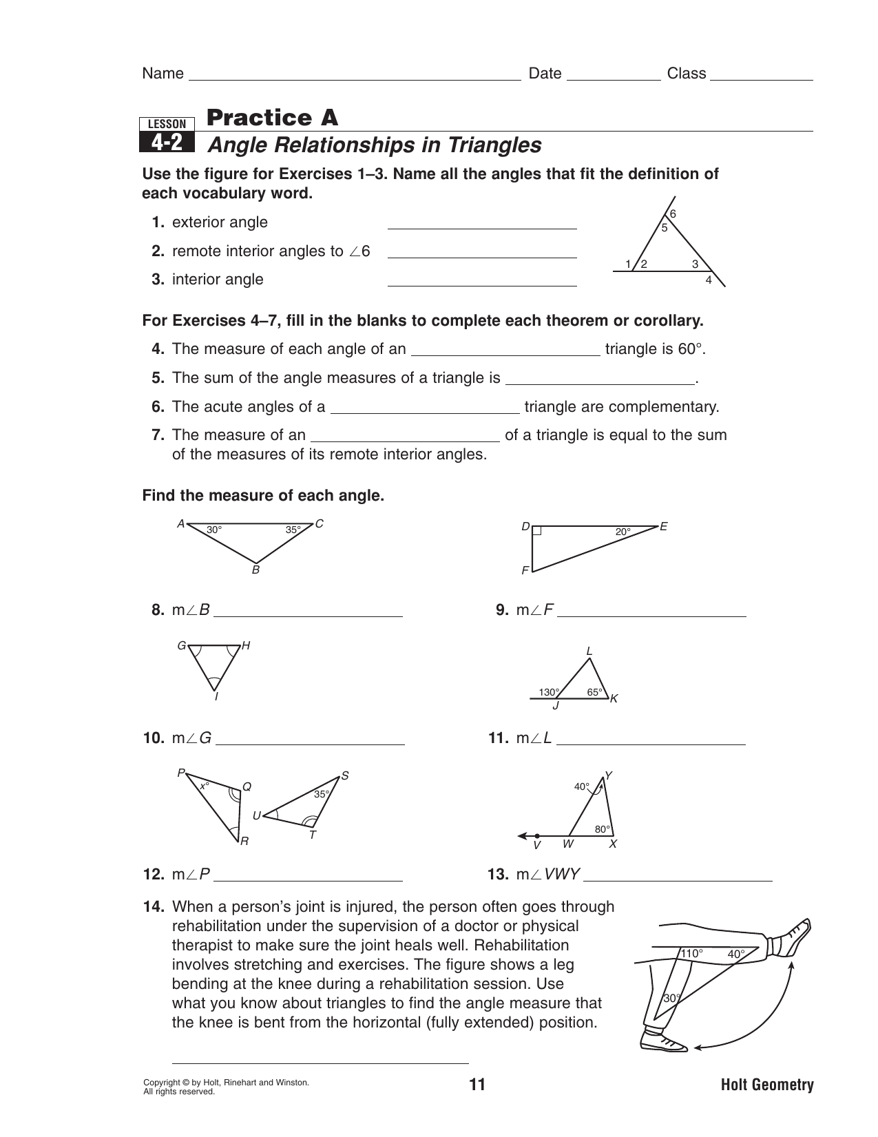 42 Practice A Angle Relationships In Triangles
