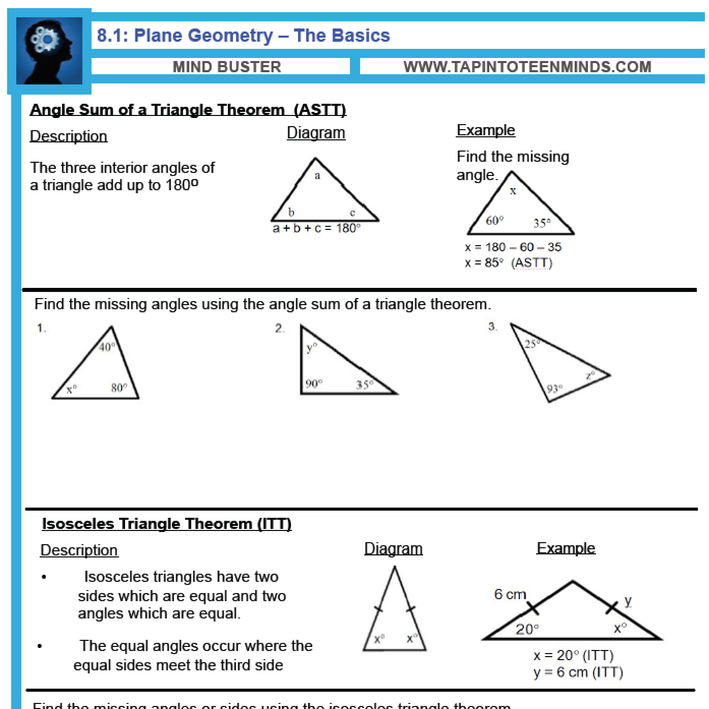 81 Angle Relationships In Triangles And Parallel Lines
