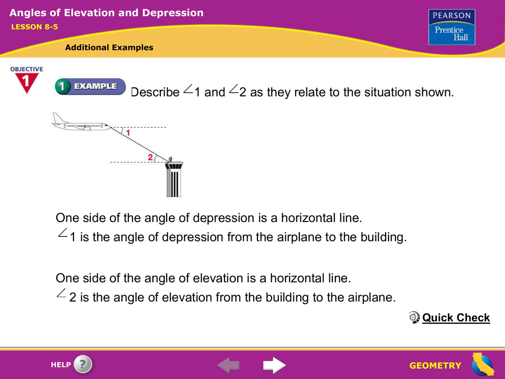 85 Angles Of Elevation And Depression