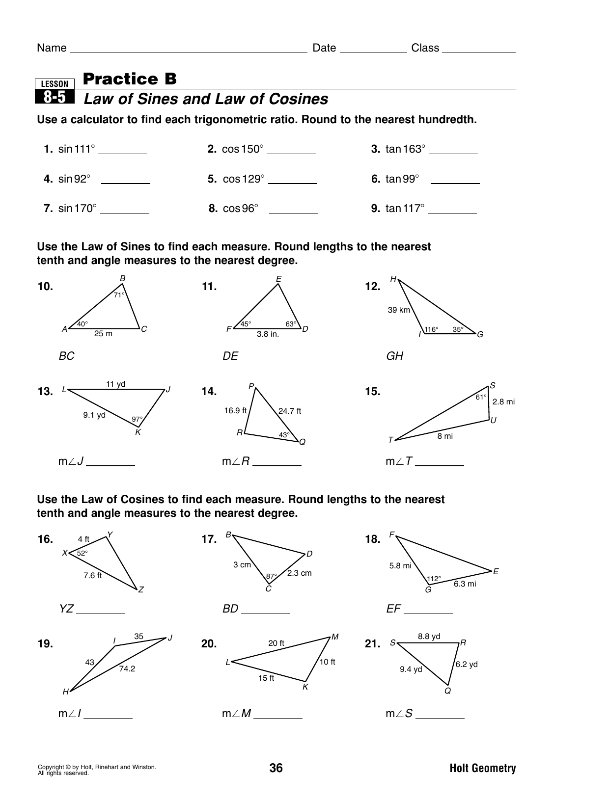 85 Practice B Law Of Sines And Law Of Cosines