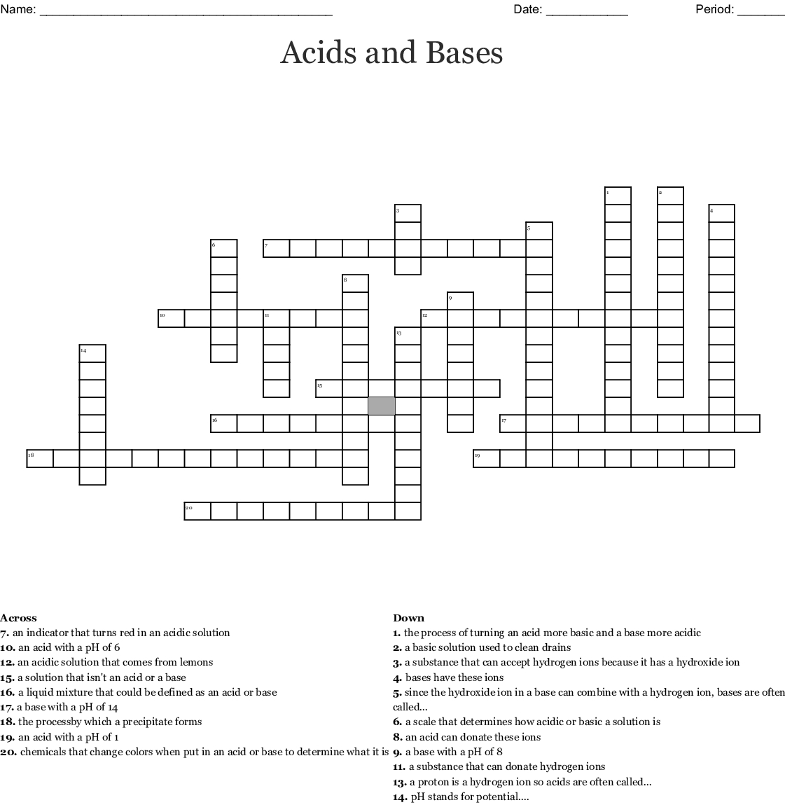 Acids And Bases Worksheet Middle School