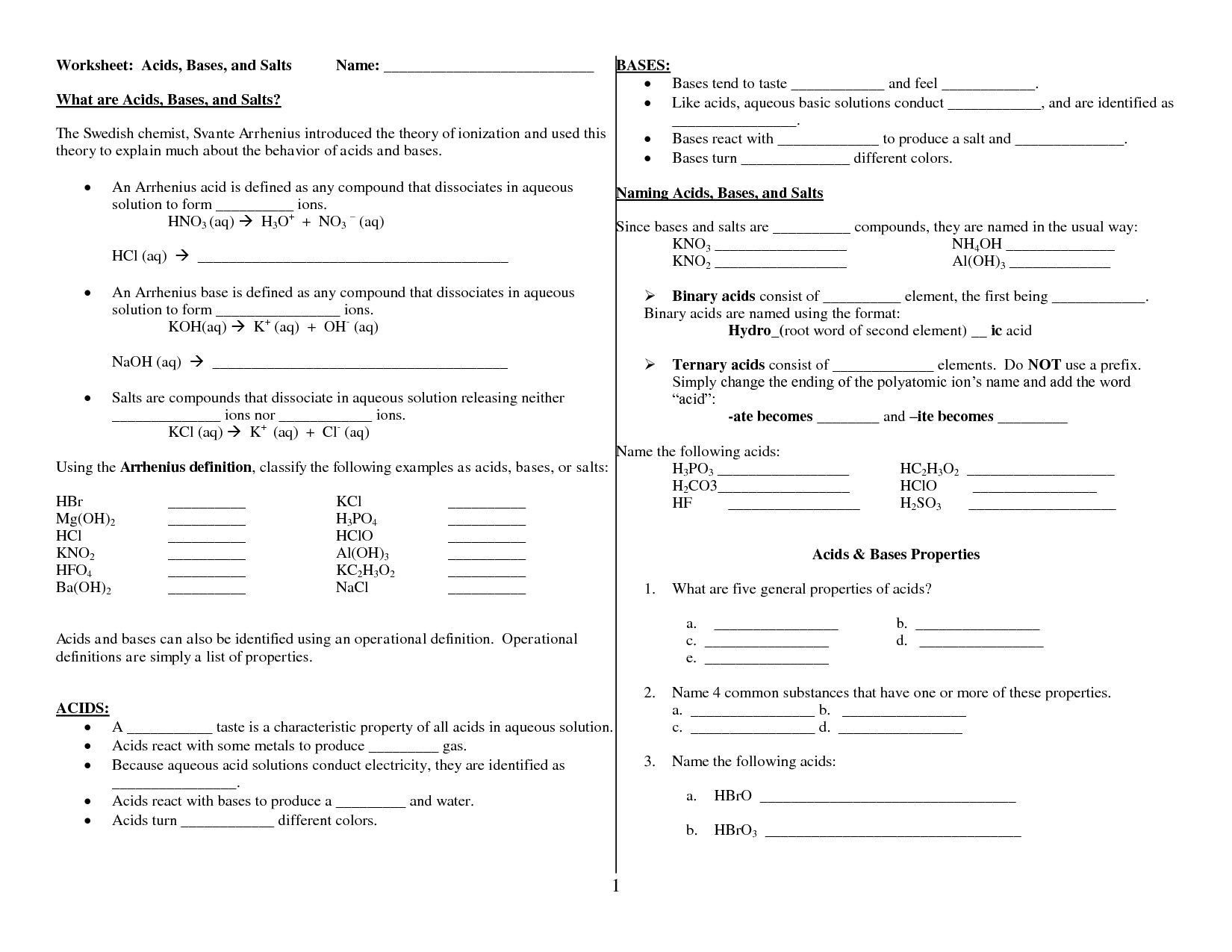 Acids Bases And Ph Worksheet Answers Worksheet