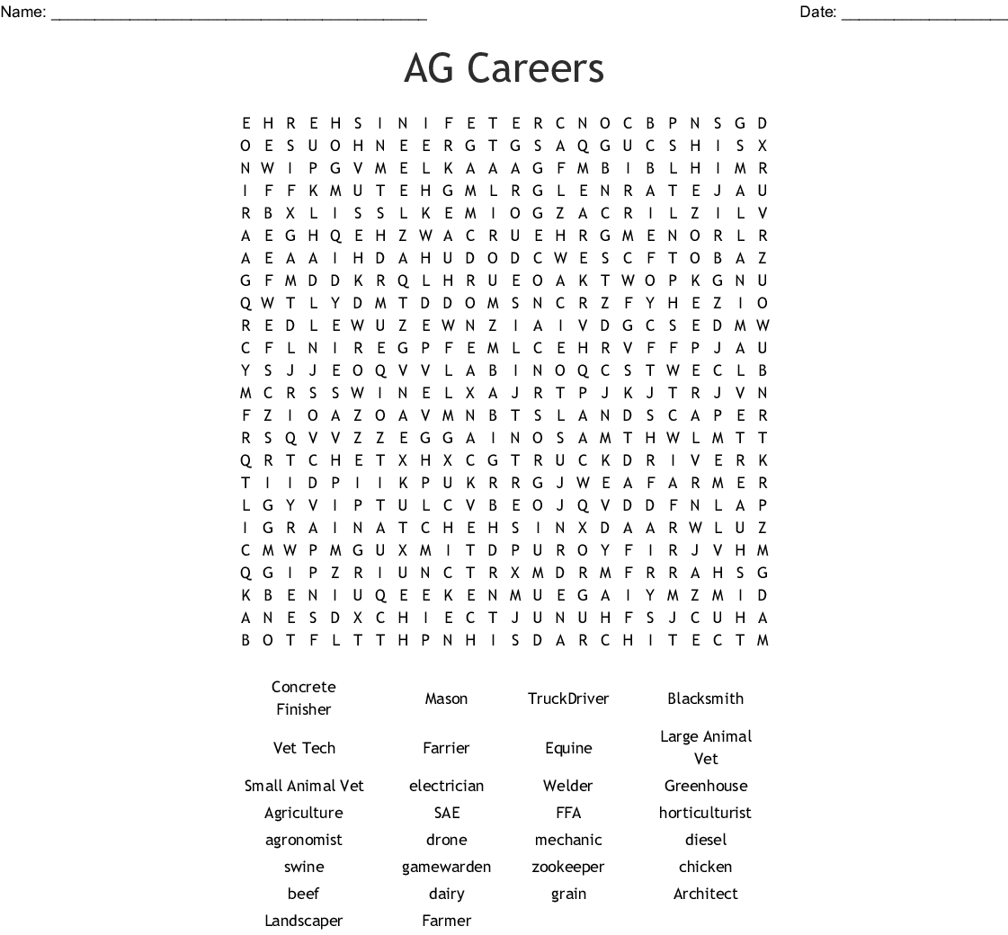 Ag Careers Word Search Word