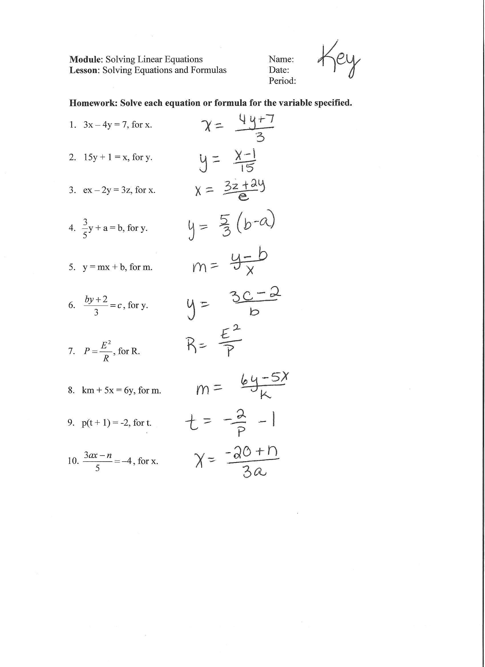 Literal Equations Worksheet 1 Answer Key