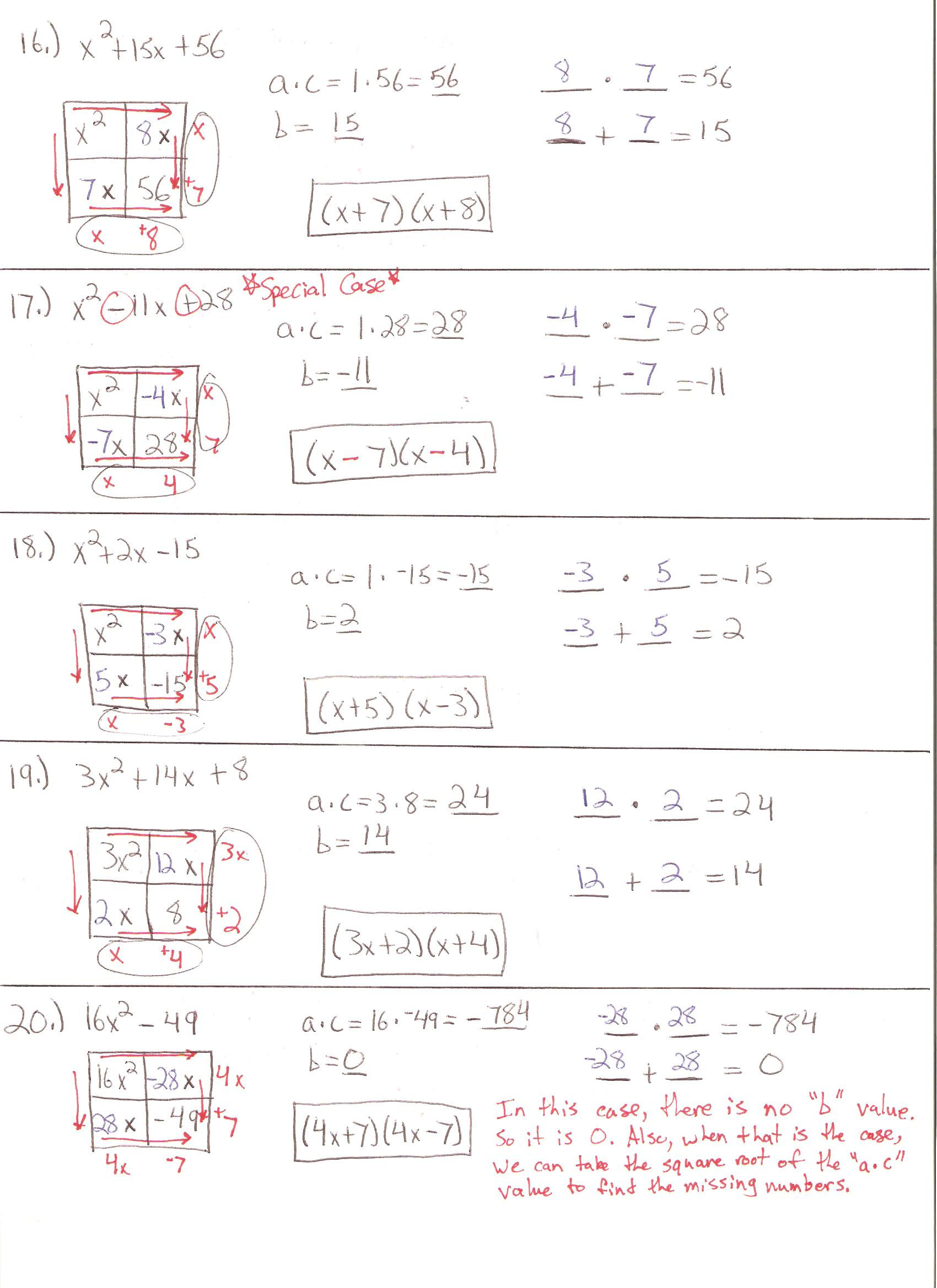 Algebra 2 Solving Quadratic Equations Worksheet Answers