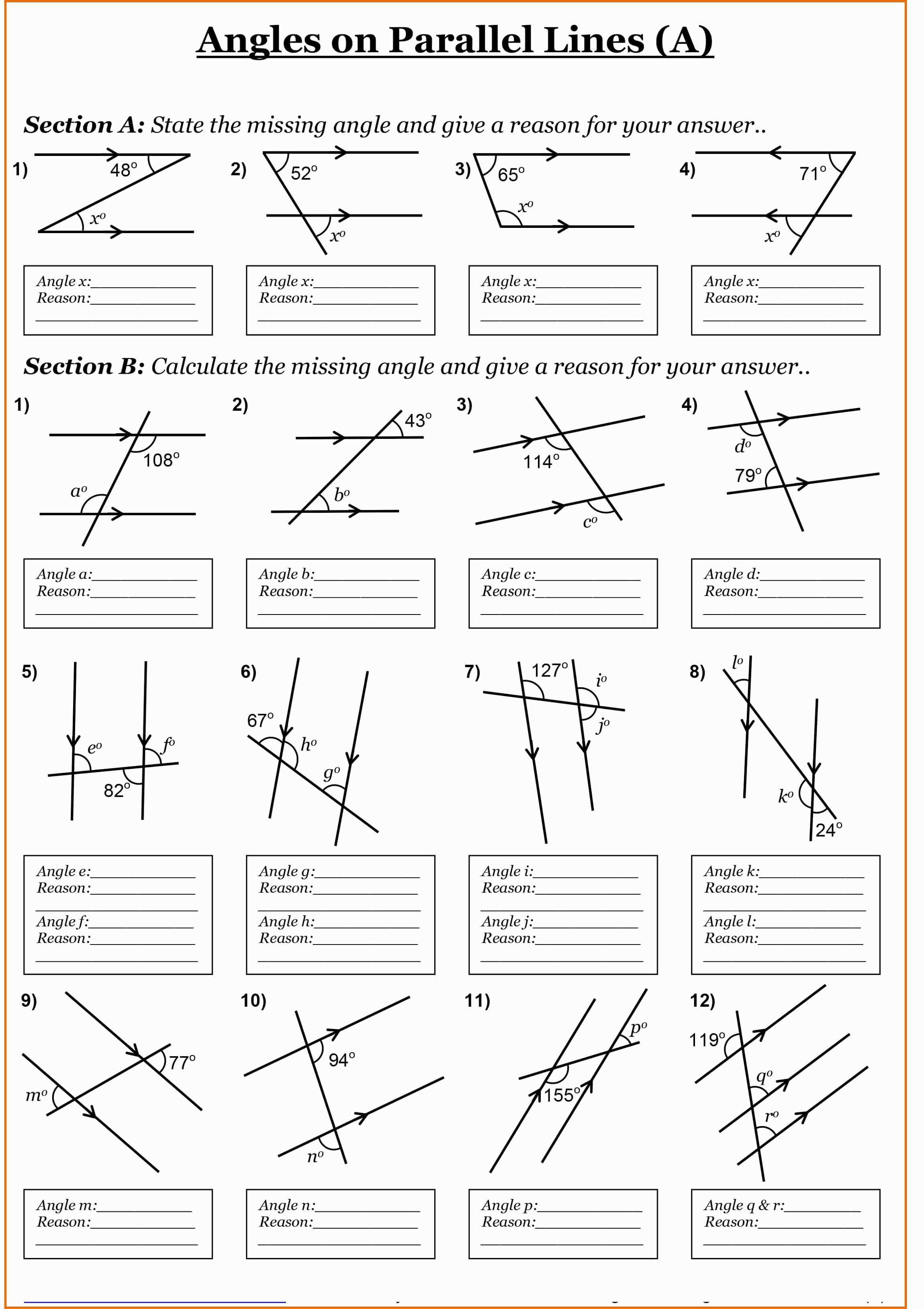 Angles Formed By Parallel Lines Worksheet Answers Milliken