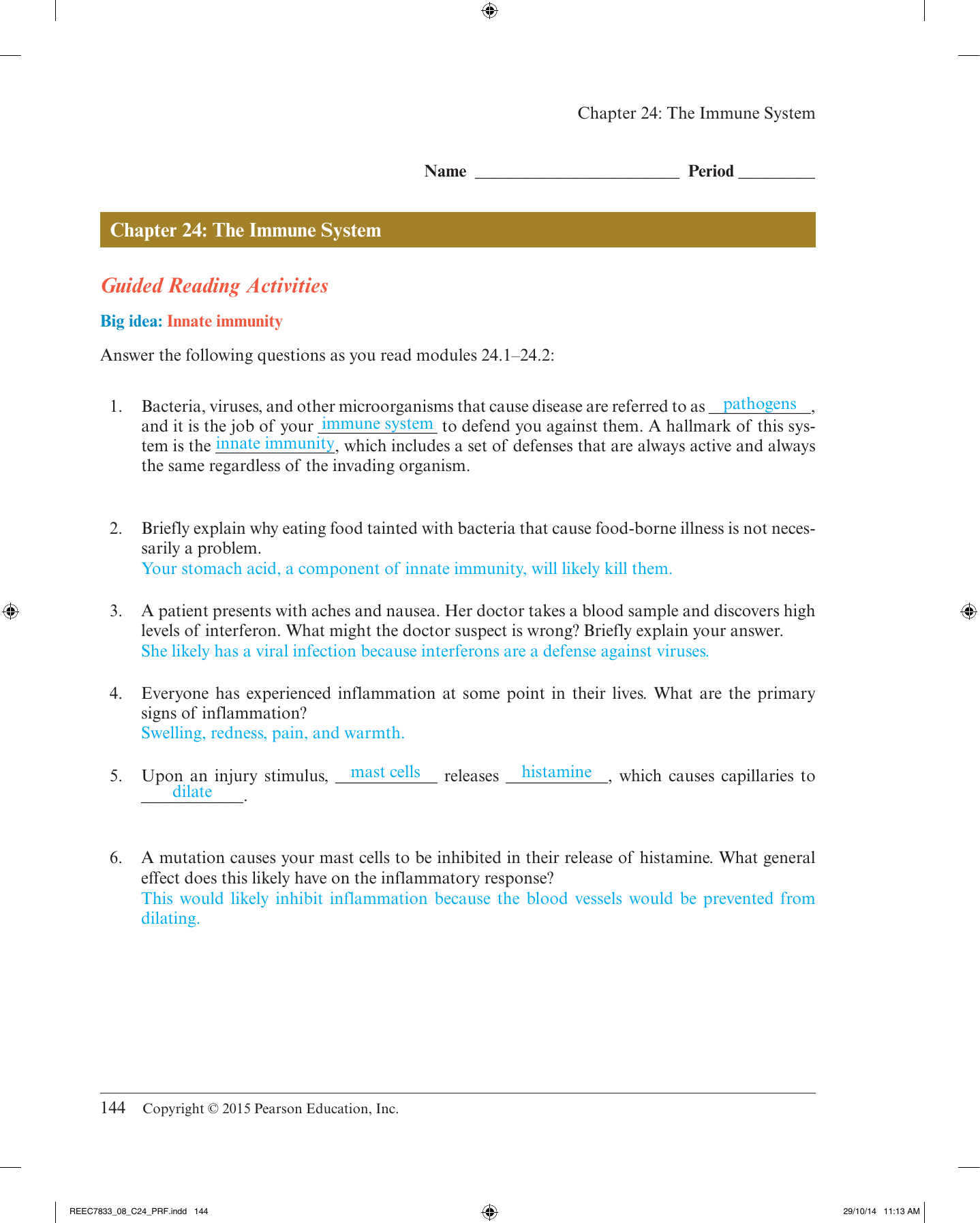 Chapter 24 The Immune System And Disease Worksheet Answer