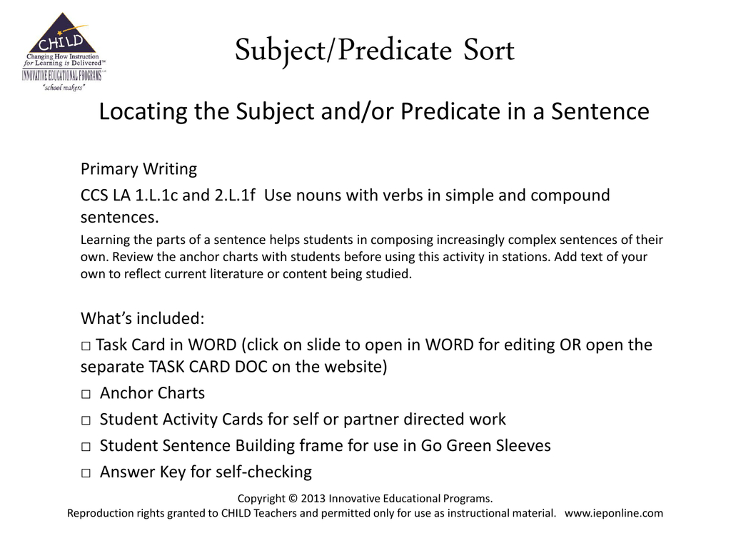 Compound Subject And Compound Predicate Worksheets With