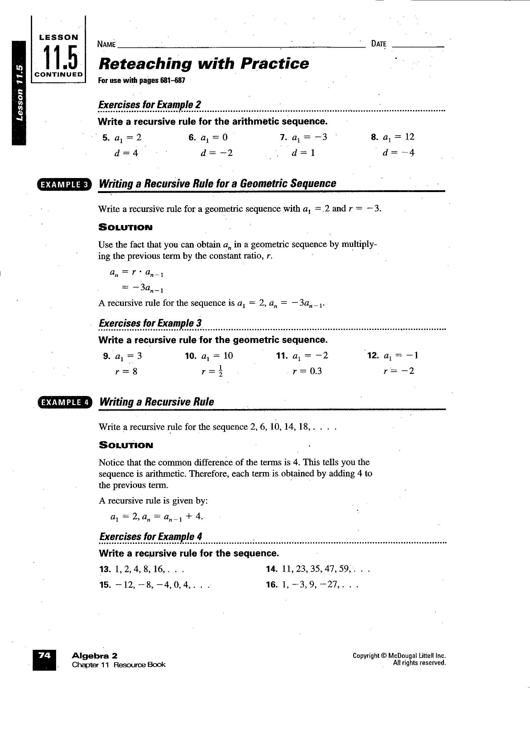 Arithmetic Sequence Worksheet Algebra 1 Db Excel