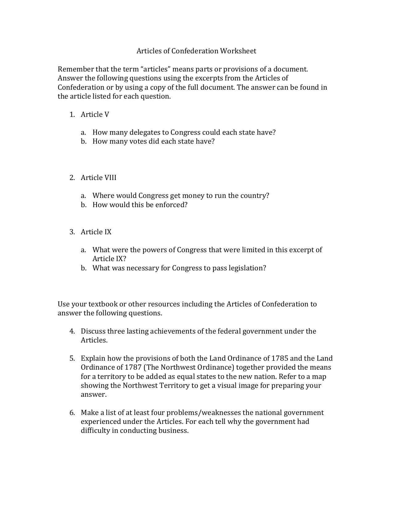 Articles Of Confederation Worksheet Remember That The Term