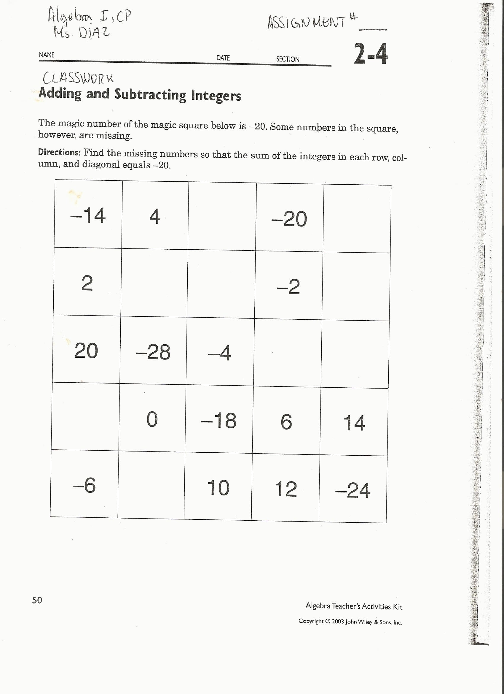 Awesome Adding Integers Worksheet And Answers Educational