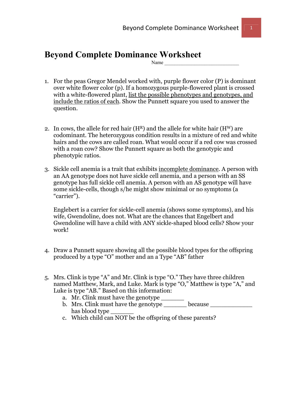 Beyond Complete Dominance Worksheet