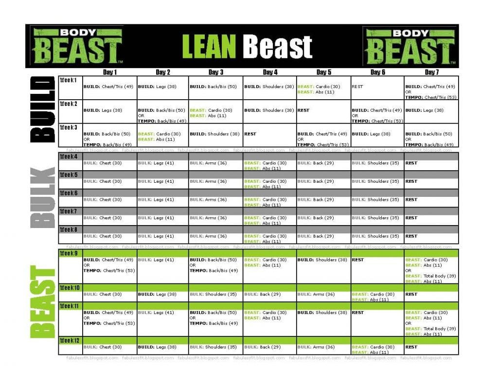 Body Beast Cardio Worksheet
