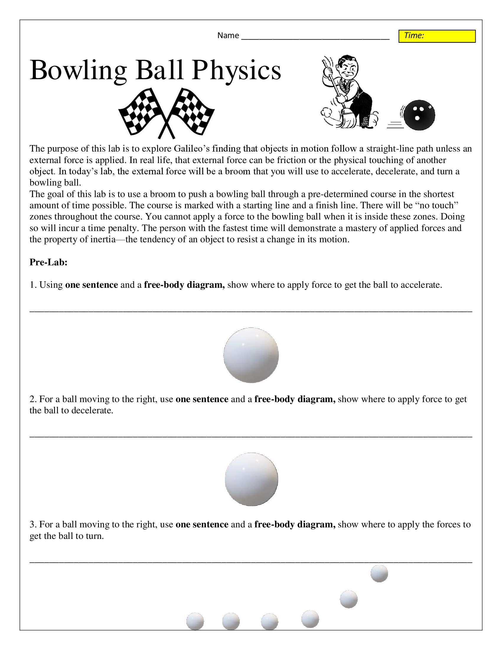 Bowling Ball Inertia And Motion Lab