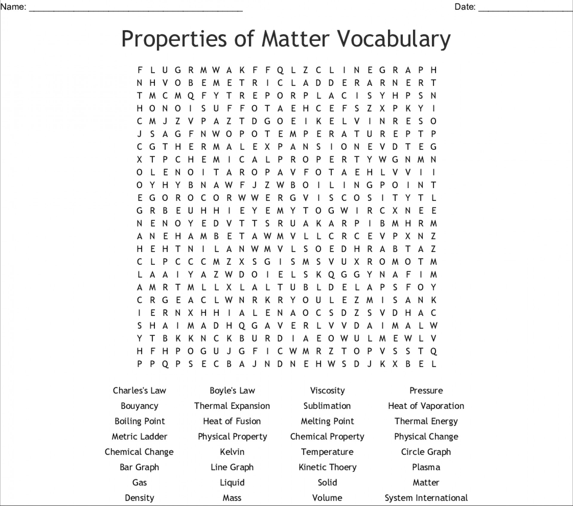 Breathtaking Properties Of Matter Word Search Printable