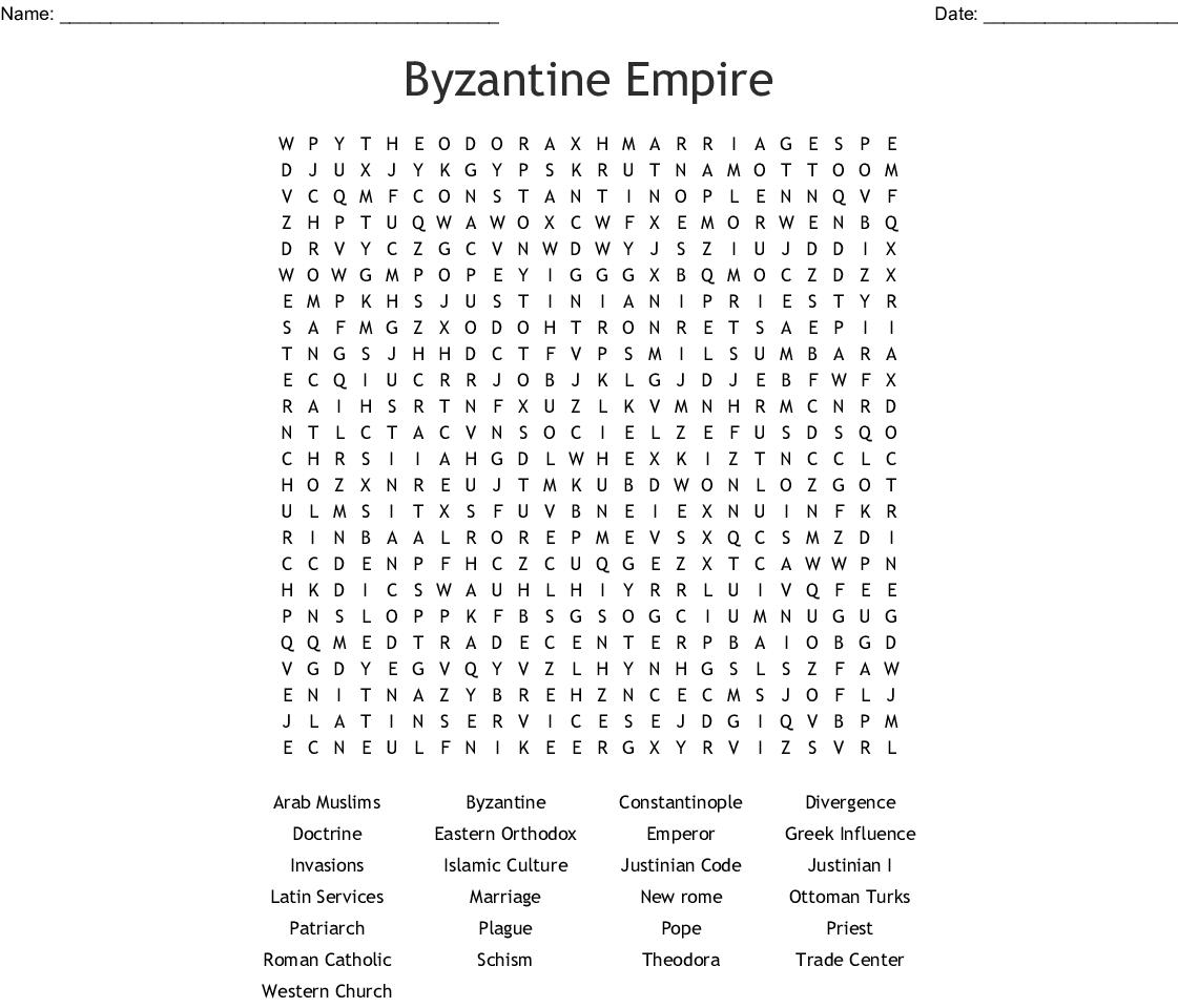 The Byzantine Empire Worksheet