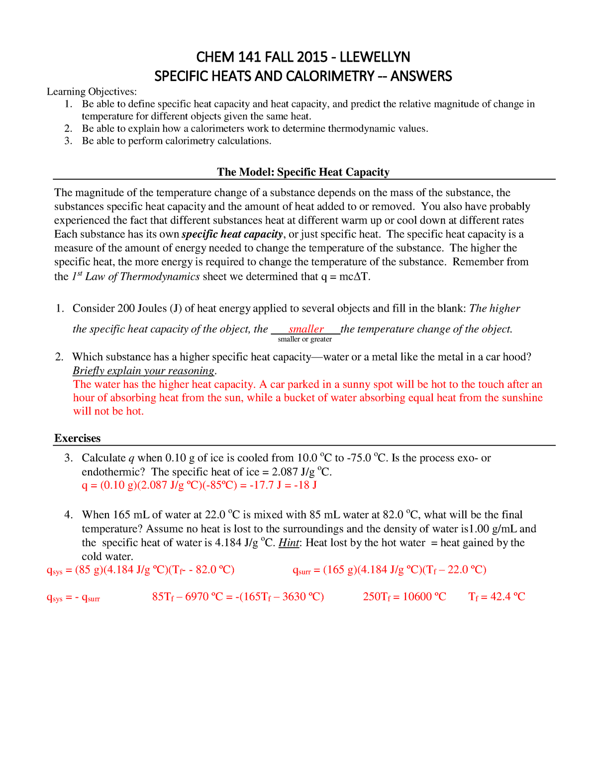 Specific Heat And Heat Capacity Worksheet