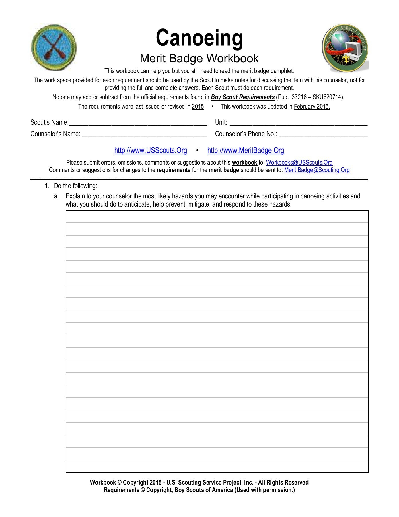 Merit Badge Worksheets