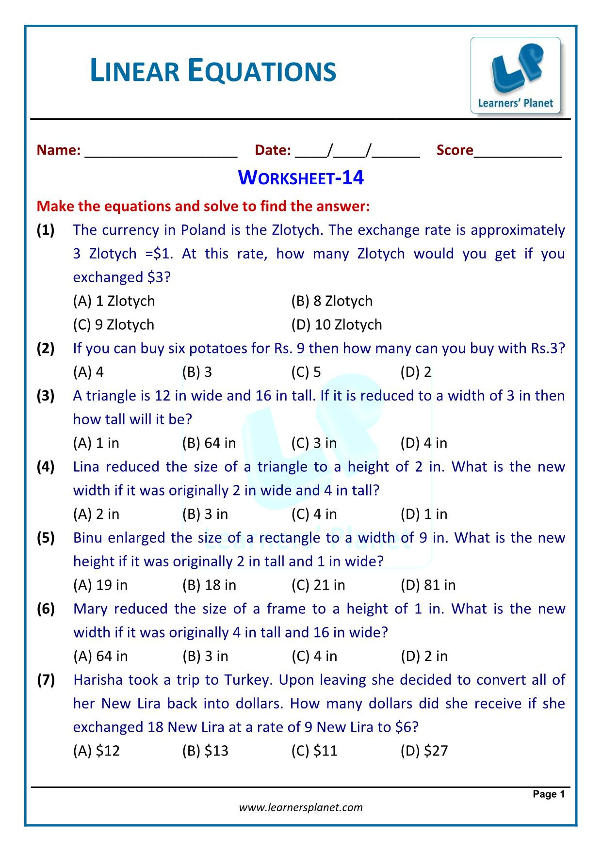 Cbse Class Viii Mathematics Linear Equations Worksheets