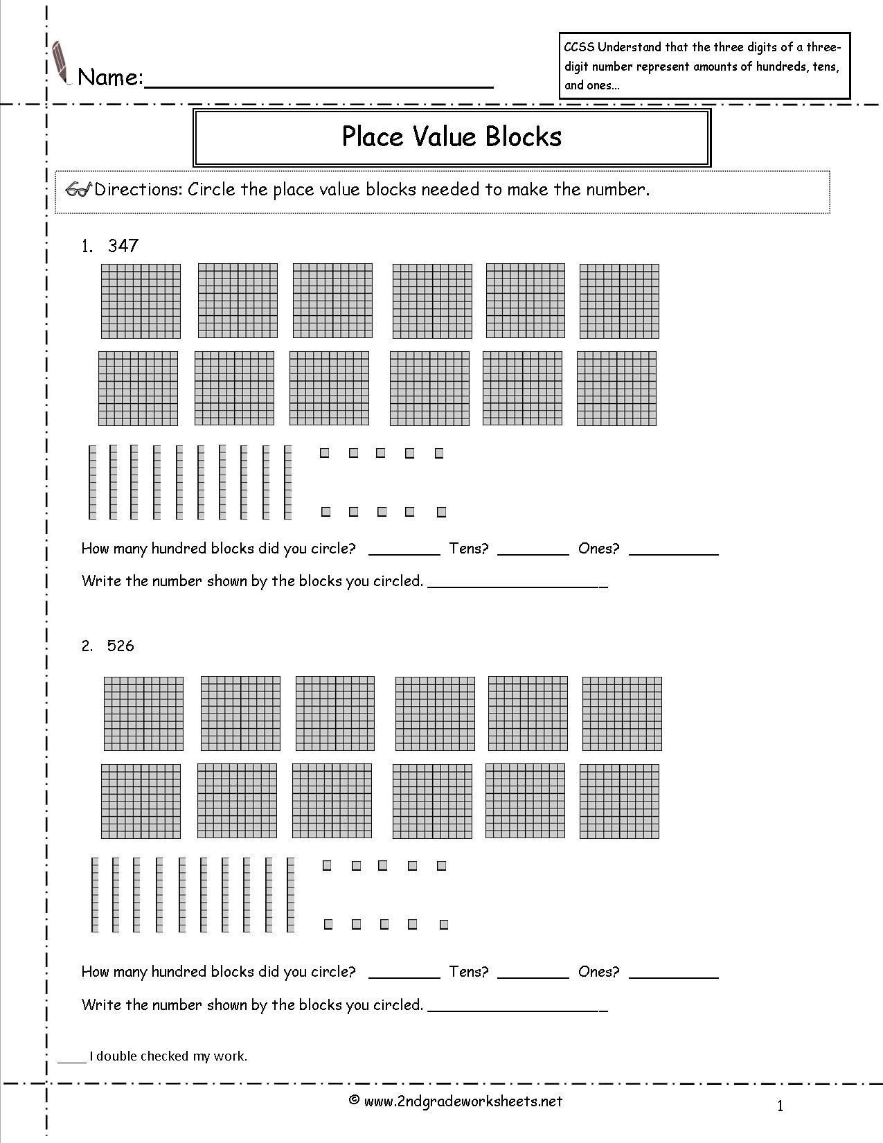 Ccss 2nbt1 Worksheets Place Value Worksheets